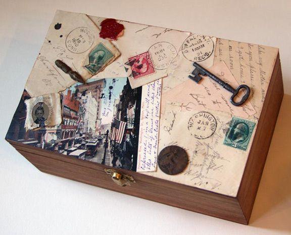 A decorated cigar box