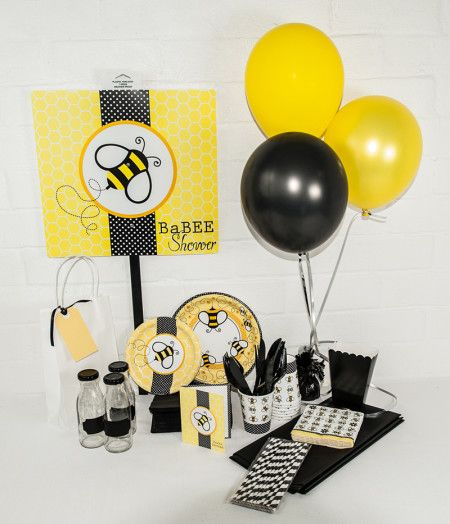Baby shower Bumble Babee Party Package. Great value delivered to your door. http://www.qualitytimepartysupplies.com.au/shop/babee-shower-bumble-bee/bumble-bee-party-package/