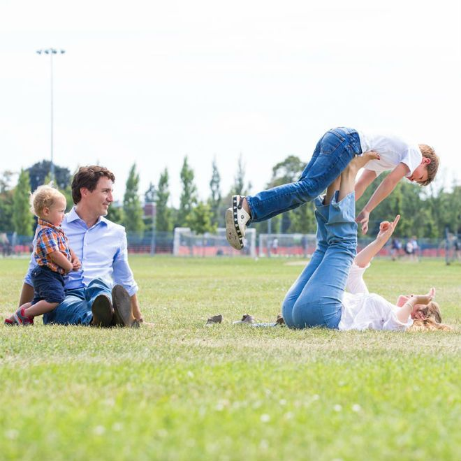 Justin Trudeau and wife Sophie Grégoire play with Hadrien and Xavier. Photo: Adam Scotti