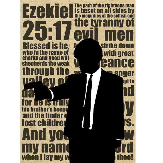 Ezequiel 25:17 cartel de ficción de la pulpa de por GangsterFlick