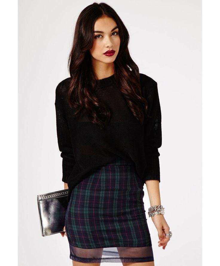 Kaede Tartan Mesh Panel Skirt - skirts - mini skirt - missguided