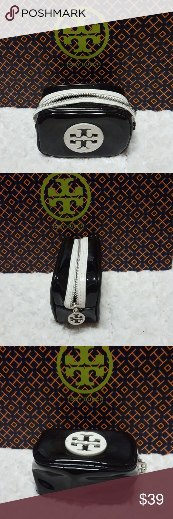 """Tory Burch Patent Small Cosmetic Bag-Authentic Tory Burch Patent Small Cosmetic Bag In good condition with minor signs of wear. 4"""" x 5.5"""" x 2.5"""". Top zip closure, fabric Lining, silver tone hardware.Authentic. Tory Burch Bags Cosmetic Bags & Cases"""