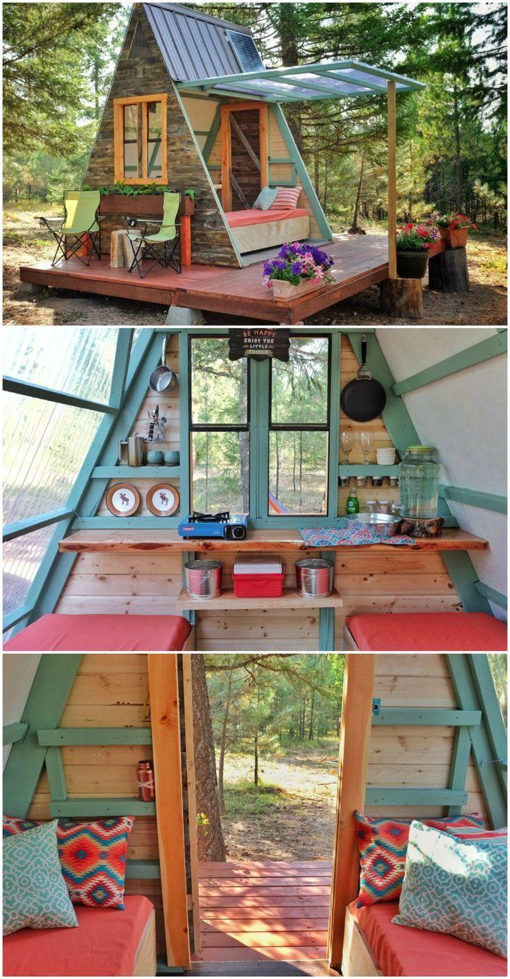 Das Ehepaar aus Minnesota baut eine winzige erweiterbare Kabine für 700 USD #WoodWorking