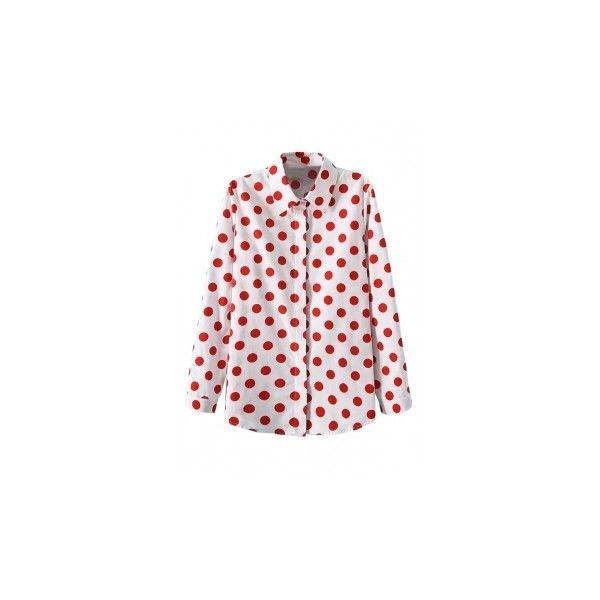 White Ladies Retro Polka Dot Long Sleeves Blouse (130 NOK) ❤ liked on Polyvore featuring tops, blouses, pinkqueen, long sleeve blouse, dot top, white long sleeve blouse, white polka dot top and polka dot top