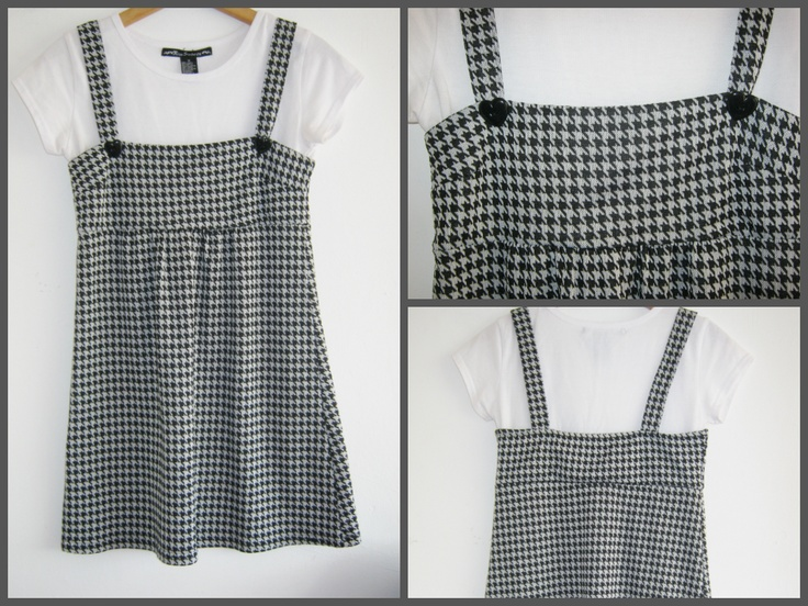Gorgeous hounds tooth dress with heart buttons... So sweet! Buy it here! https://www.etsy.com/listing/152007067/hounds-tooth-pinafore-dress-with-heart