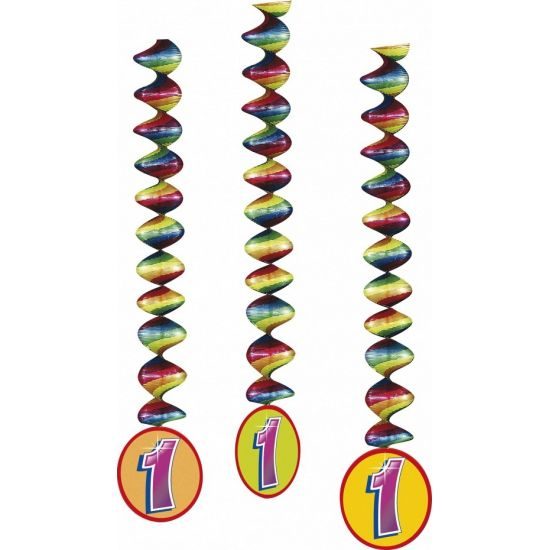 3 stuks rotorspiralen 1 jaar in vrolijke kleuren. Lengte rotorspiralen: 100 cm. Materiaal rotorspiralen: folie/papier. 1 jaar feest versiering hebben wij in zeer veel varianten.