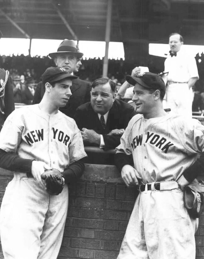 #5 Joe DiMaggio and #4 Lou Gehrig with New York City Mayor Fiorello H. La Guardia