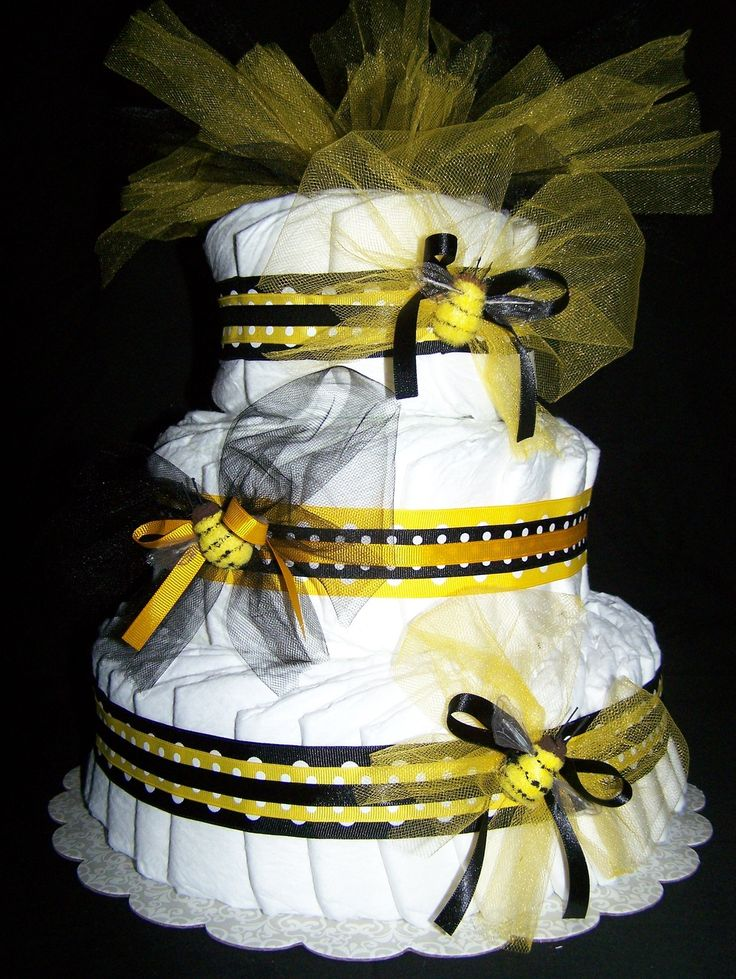 Bumble Bee 3 tier diaper Cake Baby shower centerpiece-Etsy