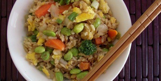 Edamame & Veggie Fried Brown Rice Recipe — Dishmaps