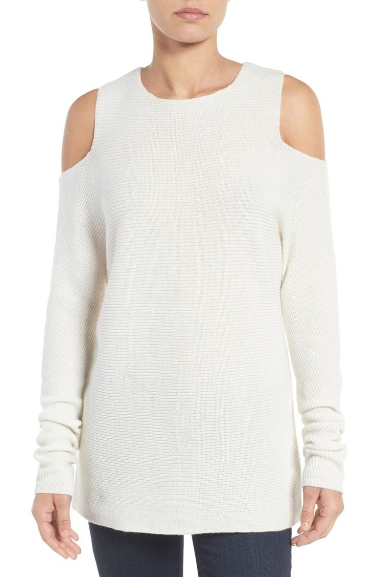 Tackle spring fashion trends handily with this ikat print maxi length - Cashmere Cold Shoulder Sweater