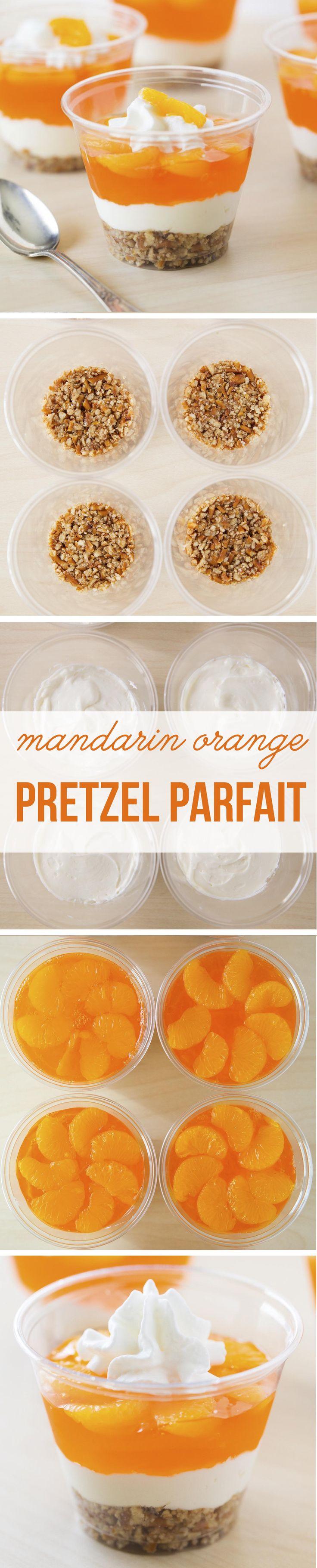 Easy no-bake mandarin orange pretzel parfaits made with mandarin oranges a pretzel crust and cheesecake filling!