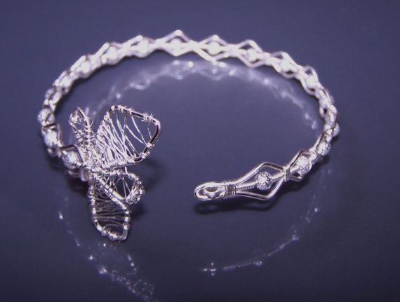 Wire Wrapped Silver Plated Bracelet With Two by choice4all on Etsy