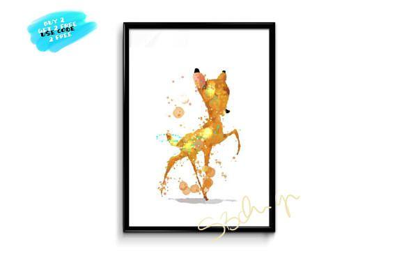 Bambi Watercolor Poster Disney Poster Nursery Disney