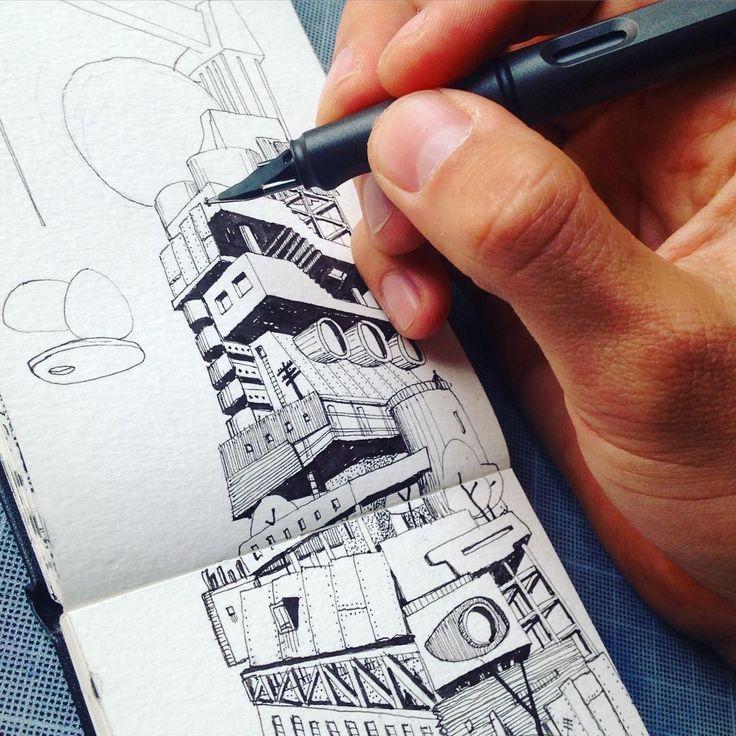 Gore urbanism. #kevcuev #art #arte #moleskine #drawing #lamy #architect #arquitectura #architecture #arquitecto #sketch #sciencefiction #habitarelapocalipsis #gore #urbanism #urbano #ciudad #urban #city
