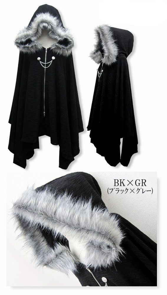 Harajuku Gothic Lolita Vampire Cloak Coat Hoodie Punk Jacket Shawl Cool Black #Q #NEW #Basic