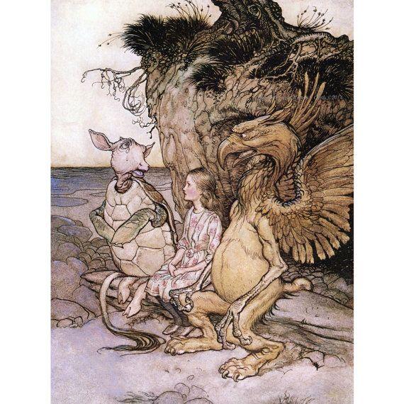 Alice in Wonderland Fabric Block - Mock Turtle and Gryphon - Arthur Rackham