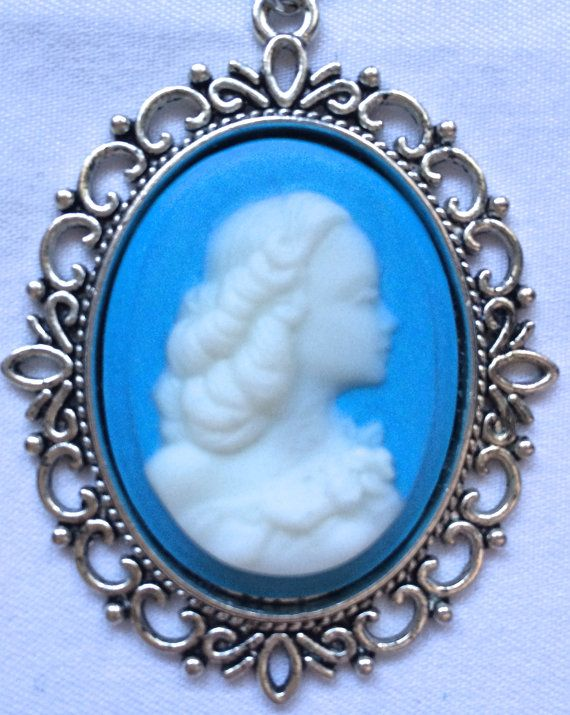 Necklace. White lady cameo on a pastel blue by FairyJaneDesign, $15.00