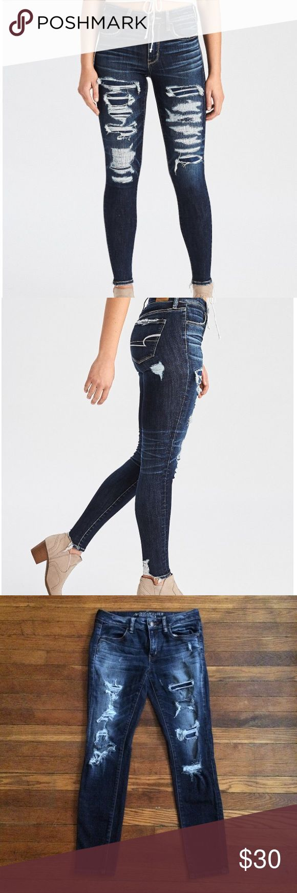 American Eagle Destroyed Jegging AEO denim x hi-rise jegging. Mad mess dark wash. Excellent used condition. American Eagle Outfitters Jeans Skinny