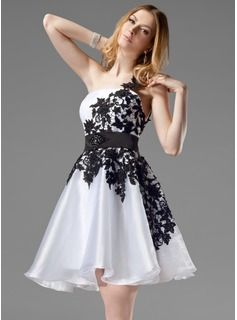 A-Line/Princess One-Shoulder Short/Mini Organza  Satin  Lace Homecoming Dresses With Lace  Sash (022004454)