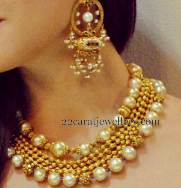 South Sea Pearls Gold Beads Set | Jewellery Designs
