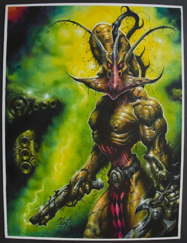 2000AD Prog 902 Cover - Nemesis the Warlock (Clint Langley).  Only 2000AD could have a hero that looked like this.