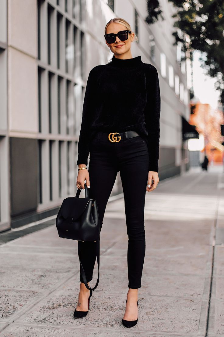 Blonde Woman Wearing Black Chenille Mock Neck Sweater Black Skinny Jeans Black P... 2