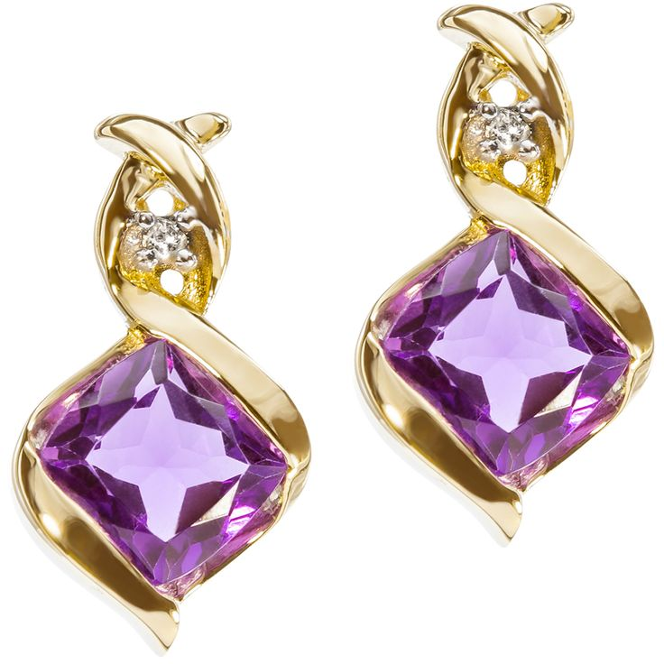9ct Yellow Gold Bezel Set Amethyst & Diamond Swirl Earrings $148 - Purejewels.com.au