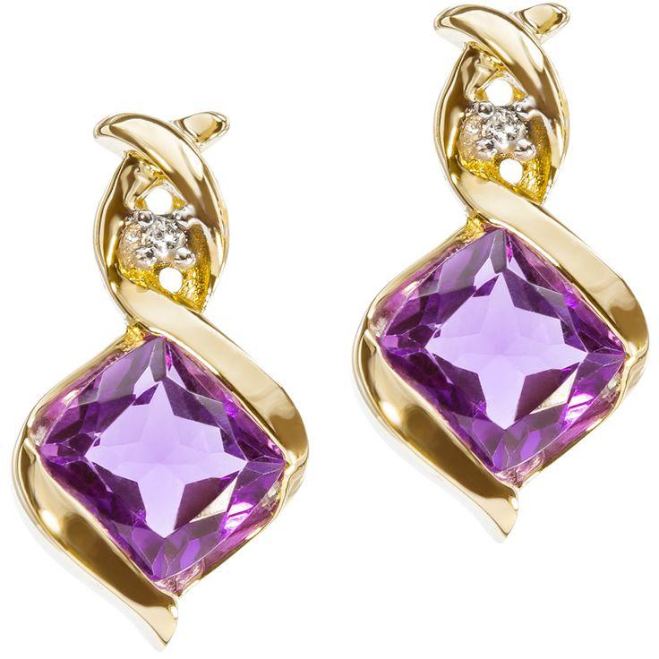 9ct Yellow Gold Bezel Set Amethyst & Diamond Swirl Earrings $148 - Purejewels.com.au