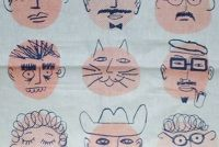 t-towel, dishtowel, graphic design, illustration, faces, mister mcginnis, midcentury design, modern