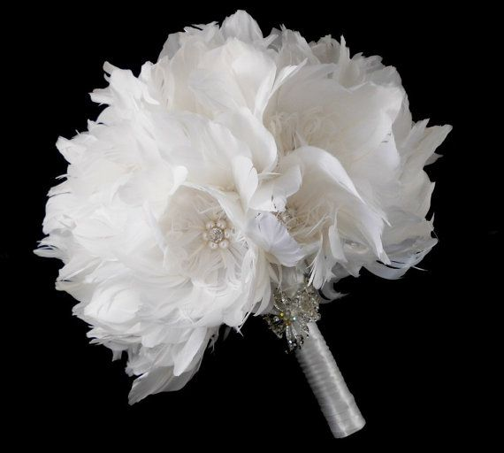 Wedding Bouquet Bridal Bouquet Feather Bouquet by parfaitplumes, $200.00  This heirloom feather bouquet has a simple elegant feel to it. All the Peony feather flowers in the bouquet are handmade by me using quality feathers and a combination of glass pearls and Swarovski rhinestones. Swarovski jewels are famous for their sparkle and flash and they shine amongst the blossoms of this bouquet adding that little bit of sparkle to your special day. #wedding#bouquet#featherbouquet#artdeco#1920s