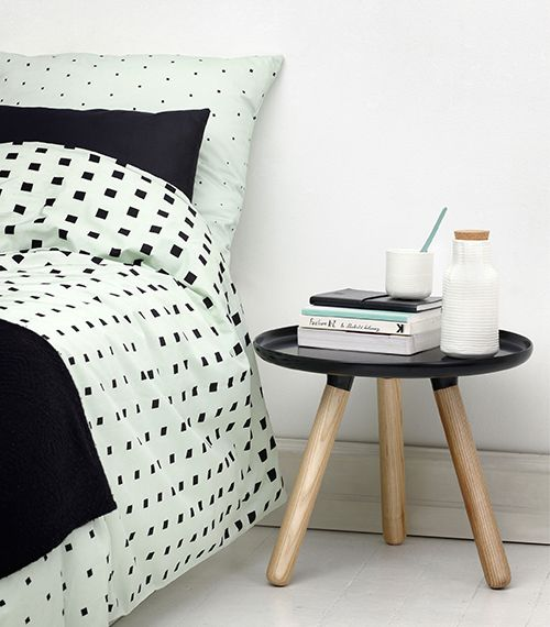 Pale mint bed linen with significant black contrasts