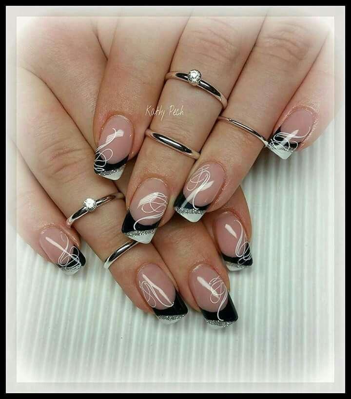 Black white silver tips nails