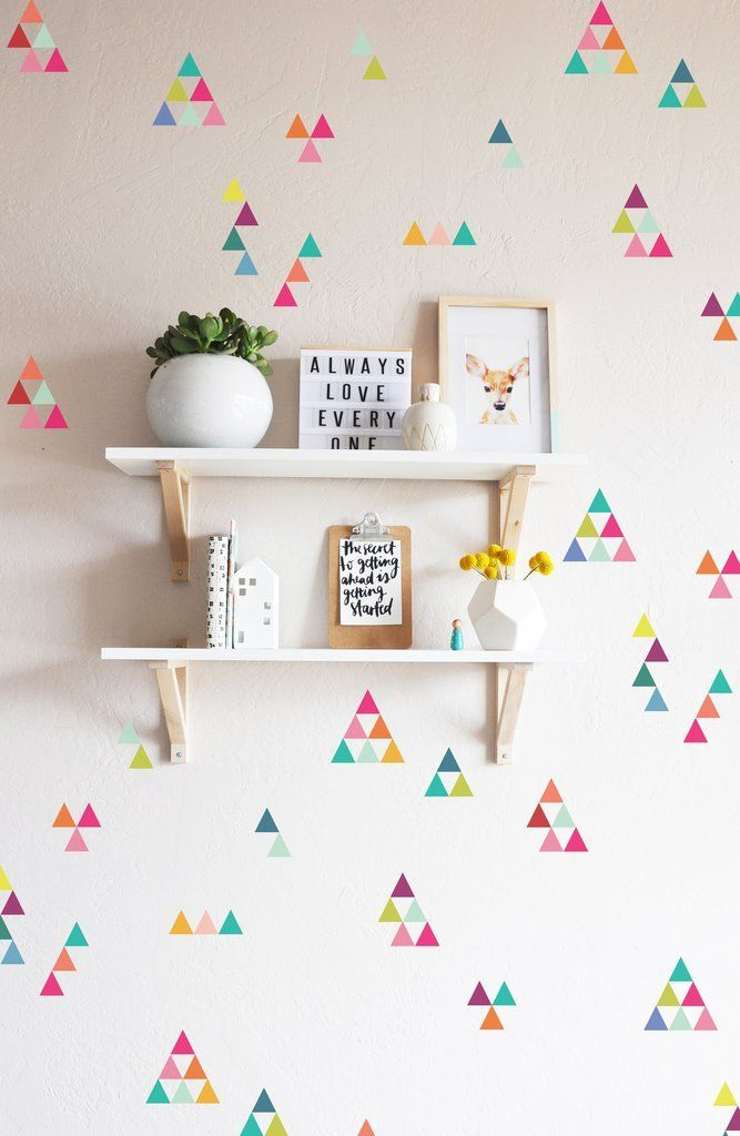 """200 qty 1"""" x 1"""" triangles Fully removable and reusable wall decals that will brighten and add character to any room. Simply purchase more than one set to fill an entire wall. Fully removable and reusa"""
