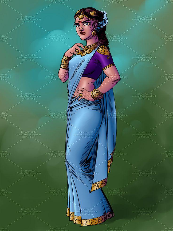 indian mythology queen illustration