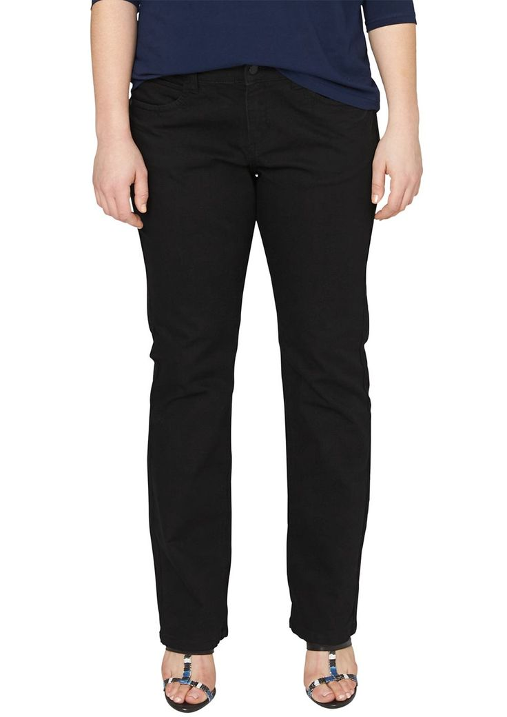 """Stretch-Jeans Dezente Waschung. 5-Pocket-Form mit Reißverschluss. Figurbetonte Passform """"Kurvig"""" mit leicht vertieftem Bund und schmalem Bein für eine ausgeprägte Hüfte, einen runden Po und stärkere Oberschenkel. Elastische, anschmiegsame Twill-Qualität aus Baumwollmix. Eine gut sitzende, schwarze Jeans sollte in keinem Kleiderschrank fehlen und lässt auch elegante Styles zu..  Materialzusammen..."""