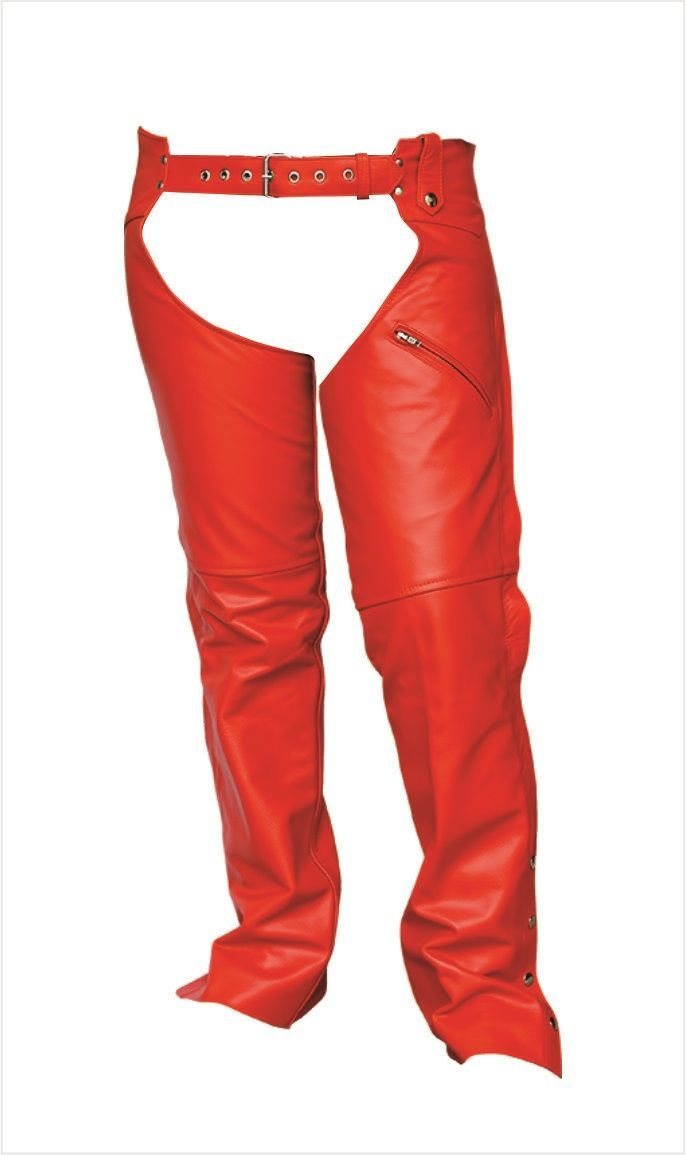 Womens Red Leather Motorcycle Chaps By Allstate Mymotorcycleclothing
