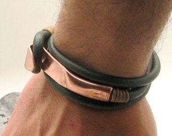 EXPRESS Versand Männer Leder-Armband. Schwarzes von eliziatelye
