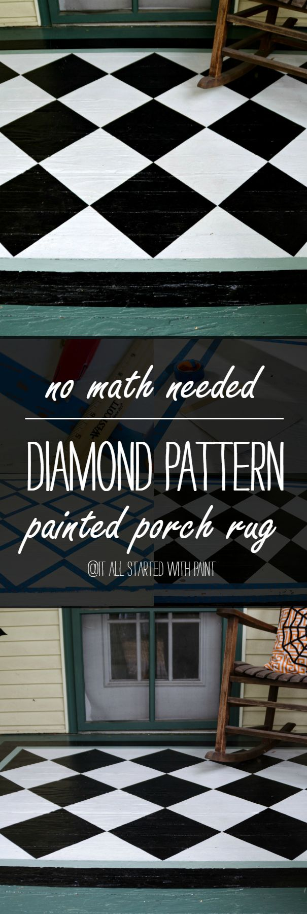 Painted Porch Rug - Diamond Pattern - Easiest Tutorial How To Paint with No Math Needed