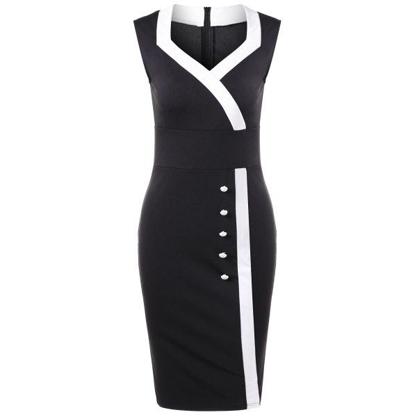 $16.00 Sweetheart Neck Button Detail Dress - Black