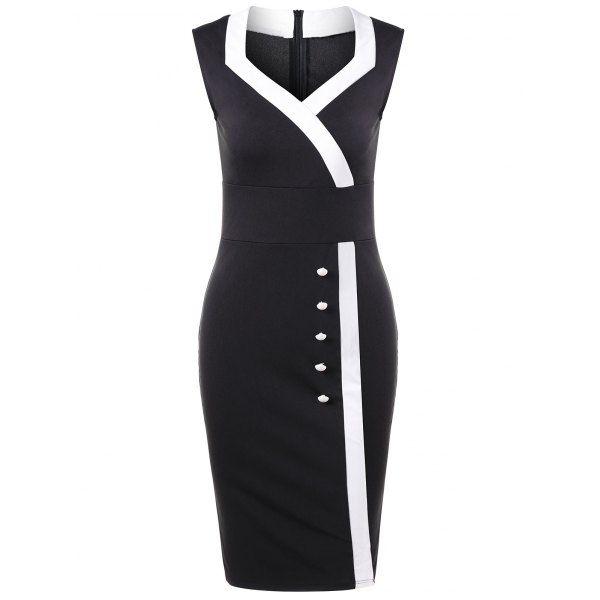 $16.00 Sweetheart Neck Button Detail Dress - Black