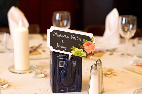 Cute police box wedding place card holders. Vintage Inspired Wedding in the Oldest Pub in Glasgow. Tom + Cat. Photo by Lee Davidson Connor Photography (www.leedavidsonconnor.com)