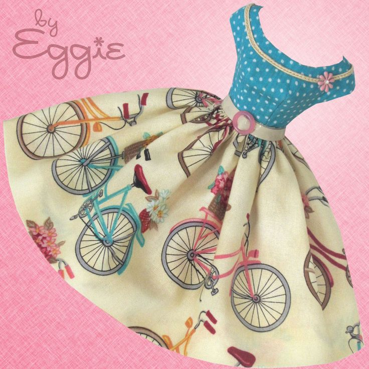 Bicycles & Blooms- Vintage Barbie Doll Dress Reproduction Repro Barbie Clothes