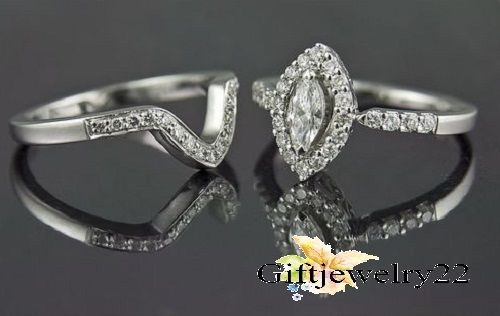1.00 Ct. Marquise Diamond Engagement Rings Wedding Band 925 Silver Bridal Sets  #giftjewelry22