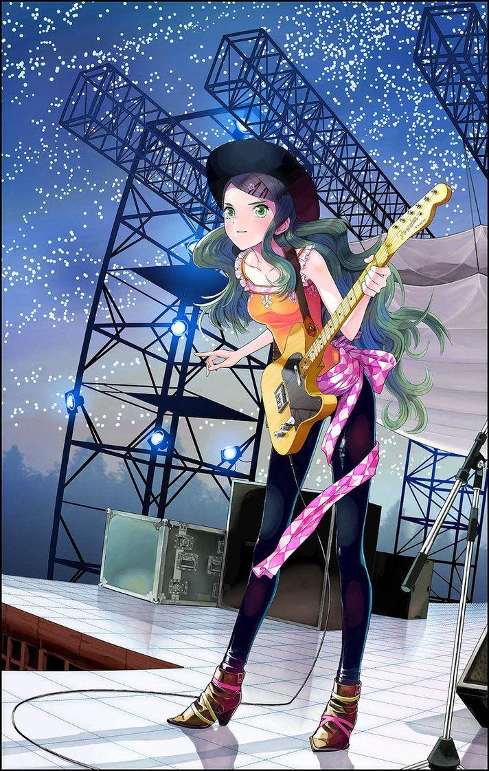 ✮ ANIME ART ✮ music. . .musician.. .stage. . .electric guitar. . .performing. . .long hair. . .hat. . .stars. . .cute. . .kawaii