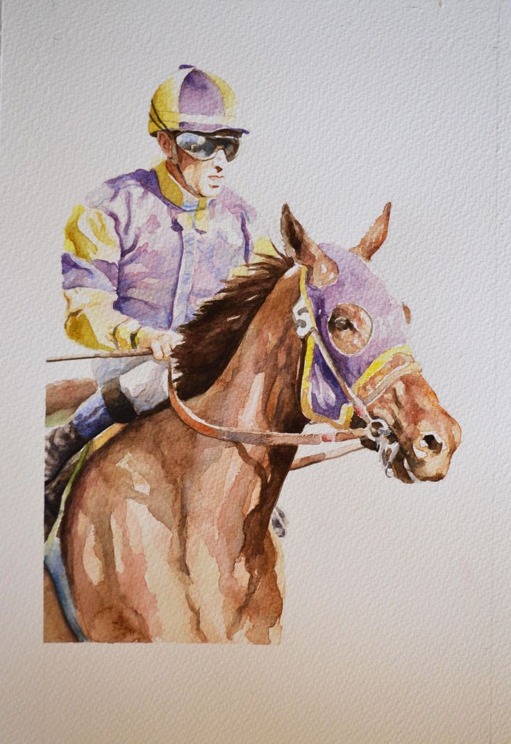 Jockey III - Watercolour 30 x 40 cm