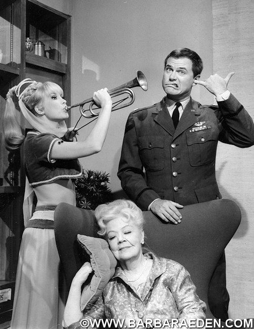 """A rare promotional photo taken during production of I DREAM OF JEANNIE episode """"Meet My Master's Mother."""" Barbara and Larry are seen here with Spring Byington, the only actress to play Tony's mother that was featured throughout an entire episode."""