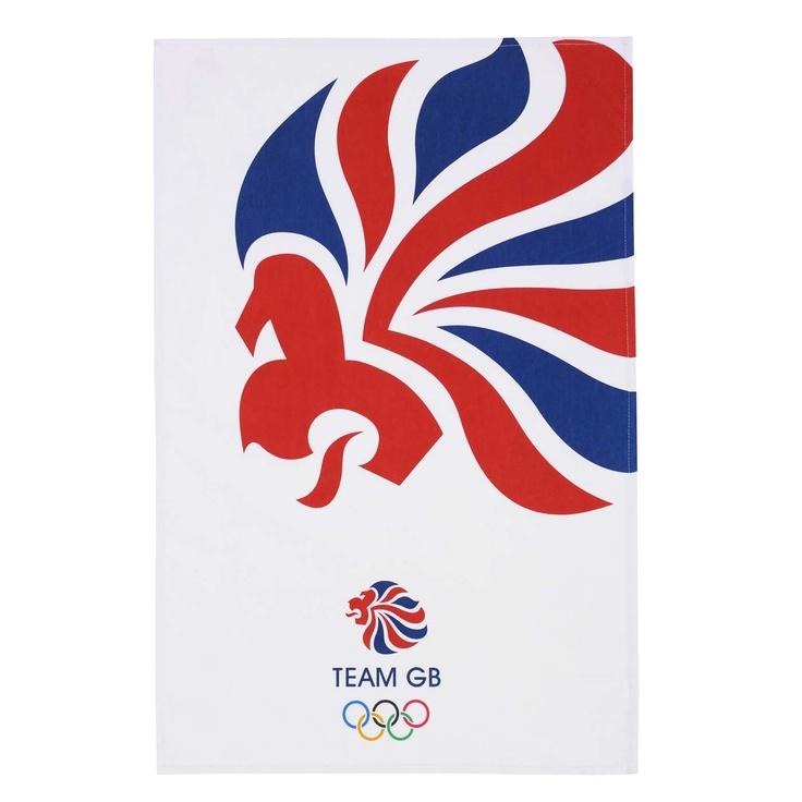 Team GB Olympic red white and blue lion tea towel, , original
