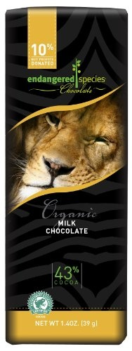 Endangered Species Chocolate Bar,Organic Milk Chocolate (Lion Bar), 1.4-Ounce Packages (Pack of 16)