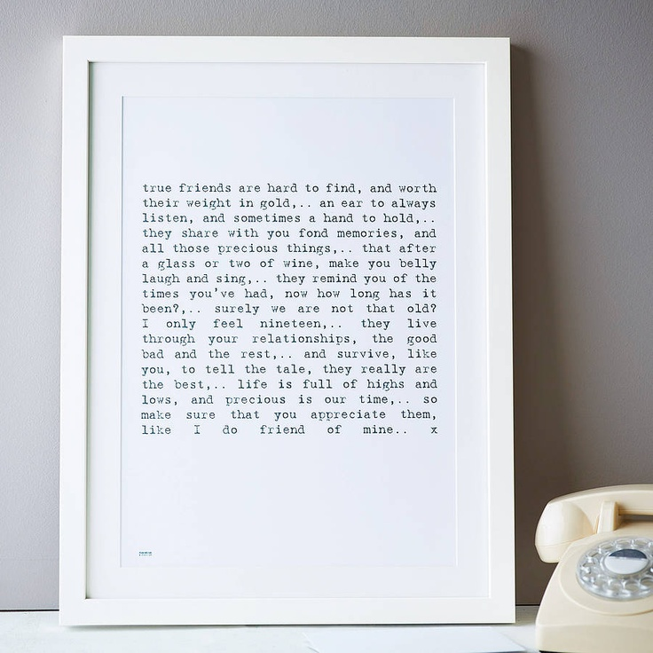 Diy Gifts For Your Best Friend Google Search: 'Friendship' Poem Art Print