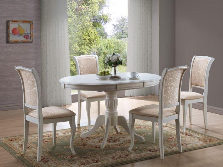 Rozkładany stół Olivia Bianco, dostępny również w kolorze brązowym.